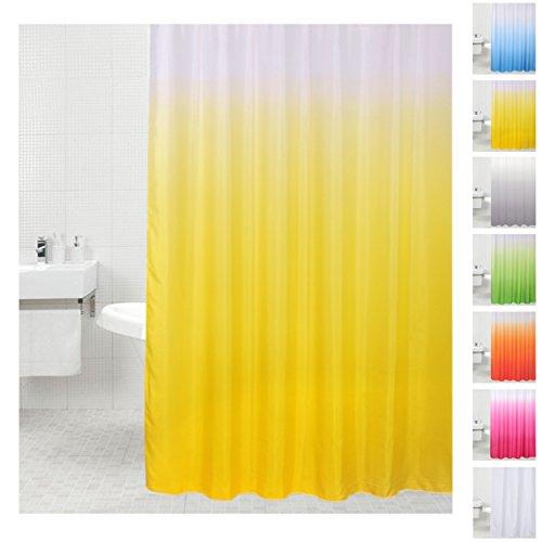 Sanilo Duschvorhang, viele einfarbige Duschvorhänge zur Auswahl, hochwertige Qualität, inkl. 12 Ringe, wasserdicht, Anti-Schimmel-Effekt (180 x 200 cm, Gelb)