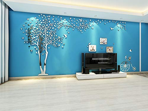 KINBEDY Acrylic 3D Tree Wall Stickers Wall Decal Easy to Install &Apply DIY Decor Sticker Home Art Decor. Silver Tree with Frames Left, X-Large.