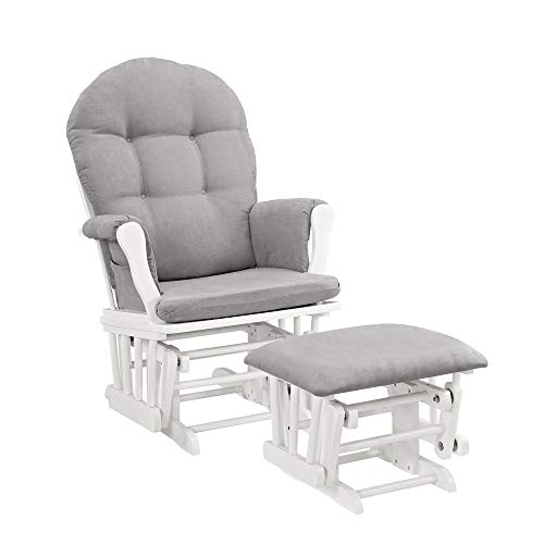 Rocking Chair Nursery Glider Rocking Chair for Nursery Windsor Glider and Ottoman with Cushion Made of Solid Wood Frames for Stability and Durability Perfect for Your Home-White with Gray Cushion