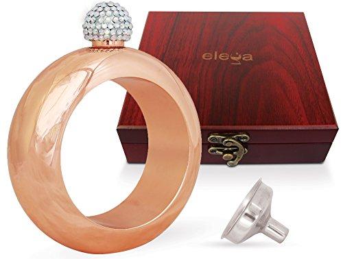 CLASSIC GOLD Bracelet Hidden Liquor Flask w/Luxury Gift Box, Rhinestone Lid, Funnel, by ELEGA | Top Novelty Jewelry Gift for Women, Men | Stainless Steel 3.5oz Alcohol Booze Bangle