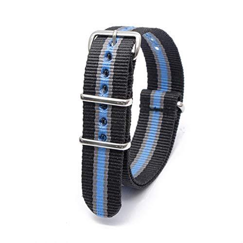 Correa de reloj de nailon, correa deportiva informal de repuesto con hebilla de acero inoxidable para hombre, accesorios de reloj para mujer, 18 20 22 24 MM