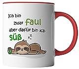 vanVerden Tasse mit Spruch - Ich bin zwar faul aber dafür bin ich süß - Faultier - beidseitig Bedruckt - Geschenk Idee Kaffeetasse, Tassenfarbe:Weiß/Rot