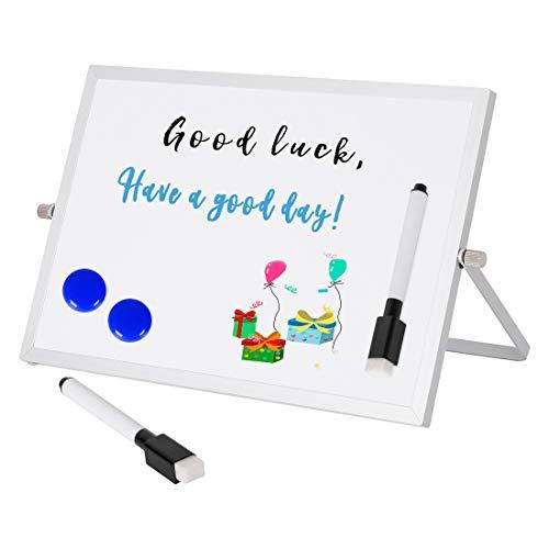 Sanlinkee - Pizarra blanca de escritorio con soporte, pizarras blancas pequeñas de borrado en seco ajustables para cocina, oficina, hogar
