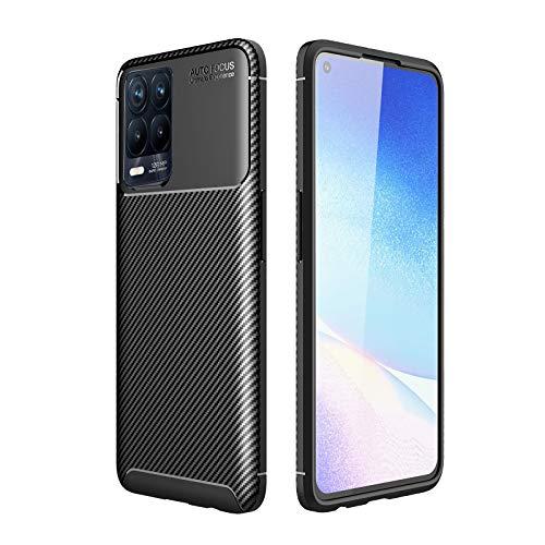GOKEN Funda para Realme 8 Pro, TPU Silicona Fibra de Carbono Protección Carcasa, Bumper Caso Case Cover con Shock- Absorción, Azul