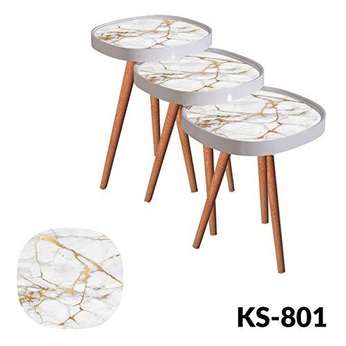Bijzettafel, salontafel, glazen model design marmer-ovaal 3'er