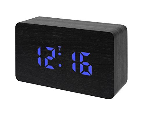 Bresser Funkwecker MyTime W mit LED Display schwarz/blau mit integrierter Temperaturanzeige für Netz oder Batteriebetrieb