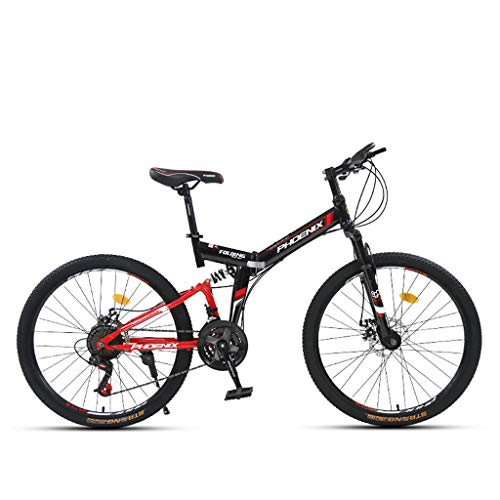 QWASZ 26 Inch Mountain Bike 24-Speed Gears Adult Student Outdoors Sport Road Bikes Exercise Lightweight Folding Bicycle