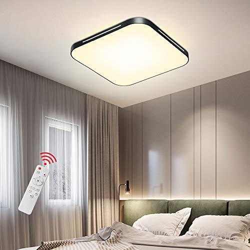 Deckenleuchte LED 64W Dimmbar mit Fernbedienung Ultradünn 50 mm Deckenlampe Wohnzimmerlampe Design für Kinderzimmer, Schlafzimmer, Flur, Wohnzimmer, 3000-6500K, 5120 lm, 500x500x50 mm, Super Helle