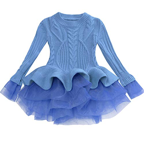 Little Story Toddler Baby Kids Girls Solid Tulle Warm Sweater Knit Crochet Princess Dress