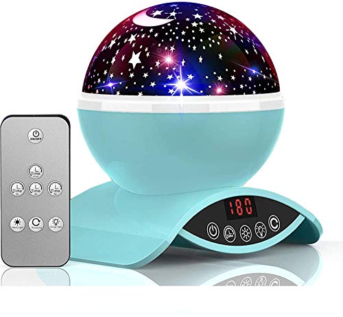 YSD Night Lighting Lamp, Modern Star Rotating Sky Projection, Romantic Star Projector Lamp for Kids, USB Rechargeable & Remote Control, Best Gifts for Kids,Bedroom(Blue)