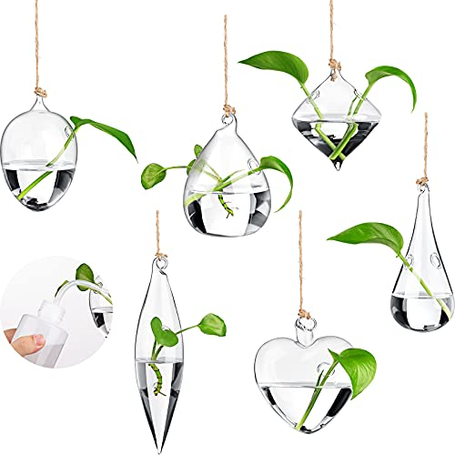 6 Pieces Flower Planter Hanging Glass Terrarium Hanging Glass Containers Watering Squeeze Bottle for Home Balcony Decor with Rope and Hooks