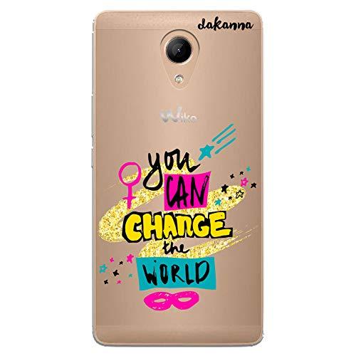 dakanna Funda Compatible con [Wiko Robby] de Silicona Flexible, Dibujo Diseño [Frase Motivacion You Can Change The World], Color [Fondo Transparente] Carcasa Case Cover de Gel TPU para Smartphone