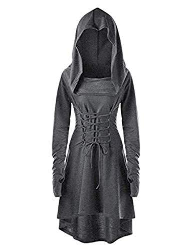 LATH.PIN Disfraz de mujer Cosplay para Halloween, Carnaval, Partido, Fiesta Medieval Vintage Vestido Asimétrico Elástico Manga Larga gris M