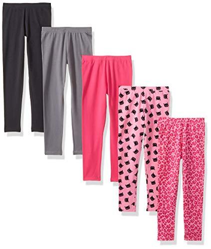 Spotted Zebra Girls' Kids Leggings, 5-Pack Pink Cat, Small