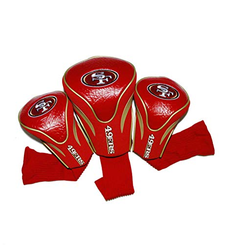 Team Golf NFL San Francisco 49ers Contour Golf Club Headcovers (3 Count), Numbered 1, 3, & X, Fits Oversized Drivers, Utility, Rescue & Fairway Clubs, Velour Lined for Extra Club Protection