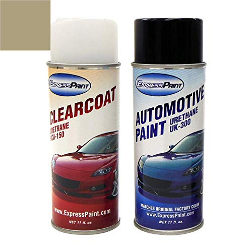 ExpressPaint Aerosol - Automotive Touch-up Paint for Jeep Patriot - Light Khaki Metallic Clearcoat PJC - Color + Clearcoat Package