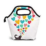 Bolsa Térmica Comida Bolsas De Almuerzo para Mujeres Hombres Niñas Niños Bolsa Isotérmica De Almuerzo Amor de gato 81