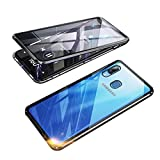 360° Full Body Case for Samsung Galaxy A20 Case / A30 Case, Magnetic Adsorption Metal Cover with Built-in Screen Protector【9H Clear Anti-Scratch Strong Tempered Glass】,Alloy Bumper Protection Black