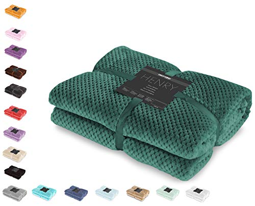 DecoKing Kuscheldecke 70x150 cm flaschengrün Decke Microfaser Wohndecke Tagesdecke Fleece weich sanft kuschelig skandinavischer Stil grün dunkelgrün Henry