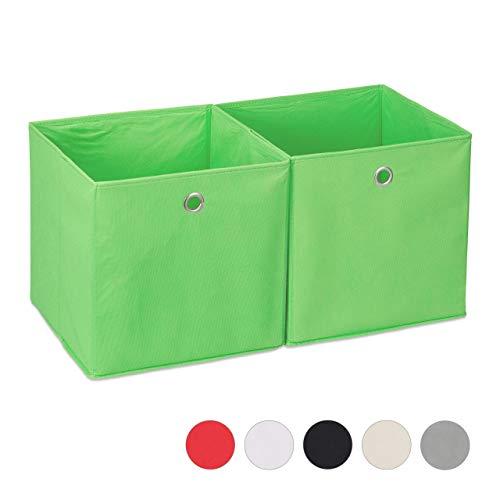 Relaxdays Aufbewahrungsbox Stoff 2er Set, quadratisch, Aufbewahrung für Regal, Stoffbox in Würfelform 30x30x30 cm, grün