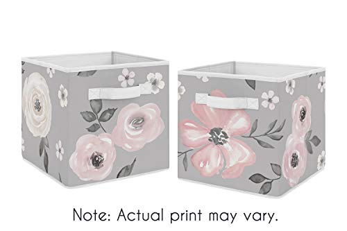 Sweet Jojo Designs Grey Watercolor Floral Foldable Fabric Storage Cube Bins Boxes Organizer Toys Kids Baby Childrens - Set of 2 - Blush Pink Gray and White Shabby Chic Rose Flower Farmhouse