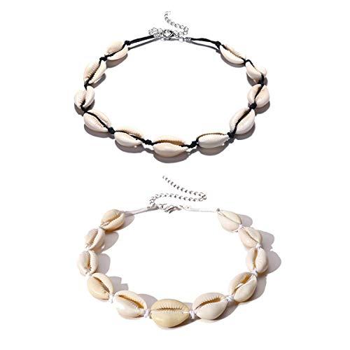 Collier ras du cou MingJun - Pour femmes - Coquillages naturels - Style bohème - Hawaï - Ajustable - Fait main