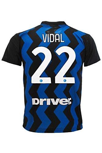 L.C. SPORT Camiseta del Inter Arturo Vidal réplica autorizada 2020-2021 para niño (tallas 2, 4, 6, 8, 10, 12) adulto (S, M, L, XL), Negro , X-Large