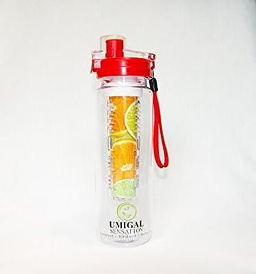 Bouteille d'eau à infuseur–25oz Tritan–Incassable Ajouter n'importe quel Fruit à votre Infusion Bouteille d'eau pour créer de l'eau de fruits ou limonade Saine–Conçu avec fond Eau Boule à thé pour complètement infusé d'eau–utiliser comme Fruit In