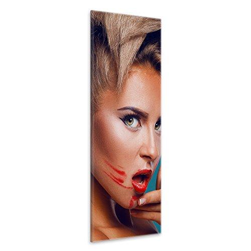 malango® - Leinwandbild - Verschmierter Lippenstift Leinwanddesign in Premium Qualität 1-Teiler Panorama im Hochformat spezielle Latex-Tinte auf Premium Leinwandstoff 30 x 80 cm