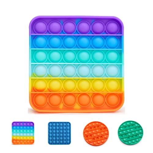Narsam Pop It Bubble Fidget Toy, Gioco Antistress Rilassante per Adulti e Bambini Multicolore (Arcobaleno)