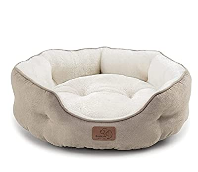 Bedsure Round Cat Bed for Indoor Cats Clearance, 20 inch Small Dog Bed for Puppy and Kitties with Slip-Resistant Bottom, Plush Flannel Pet Supplies, Camel