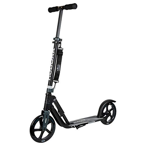 HUDORA 14825 Big Wheel 205-City-Roller-Klappbarer Tretroller Scooter Roller, schwarz/anthrazit, 205 mm
