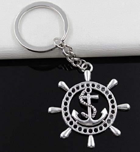Anker im Steuerrad Schiffsruder Schlüsselanhänger Metall   Geschenk für Frauen Männer Geburtstag   Meer   Ozean   Maritim