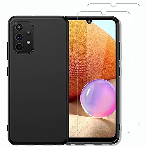 NEW'C Cover per Samsung Galaxy A32 5G in silicone ultra sottile nero e 2× vetro temperato per Samsung Galaxy A32 5G, pellicola protettiva per schermo