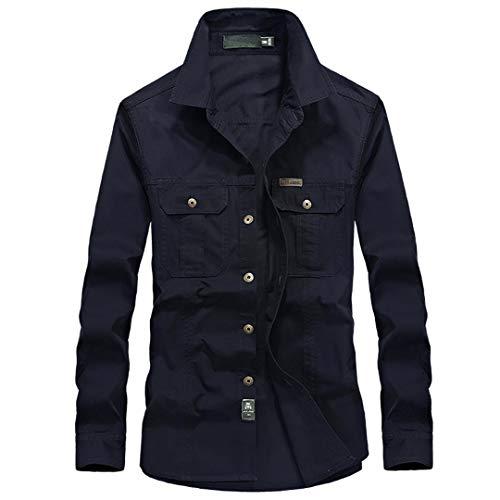 Herrenhemden Baumwolle Langarm Männliche Frachthemden Armee Grün Black Blue CN XL 70kg