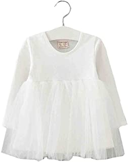 Baby Girls Toddler Tutu Dress Long Sleeve Pink Infant Children Clothes Party Wear Pleated Tops
