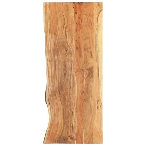 UnfadeMemory Badezimmer-Waschtischplatte Akazien-Massivholz Waschtischkonsole mit natürlicher Holzkante Badezimmer Massivholz-Arbeitsplatte Holzplatte für Waschbecken (140 x 55 x 3,8 cm)