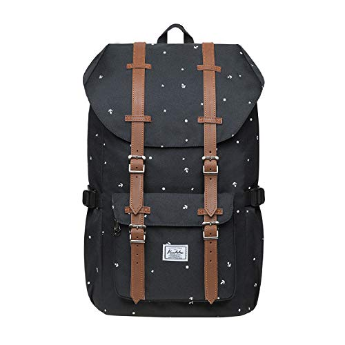 """KAUKKO Rucksack Damen Herren Studenten 17 Zoll Backpack für 15\"""" Notebook Lässiger Daypacks (Polyester-SchwarzEP5-13)"""