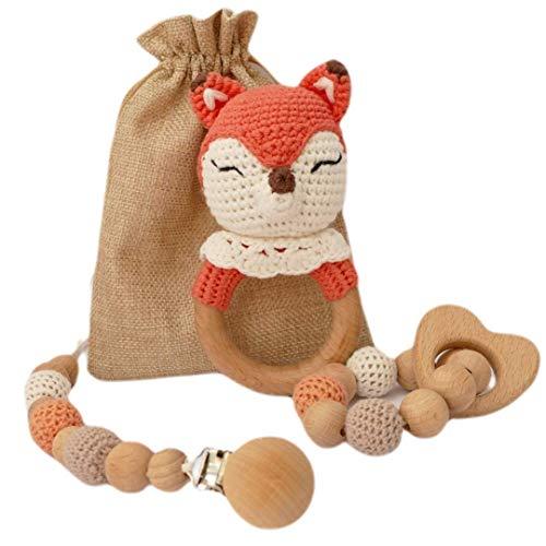 Geschenkset Baby Fuchs Rassel gehäkelt, Greifling Beißring und Schnullerkette aus Holz…
