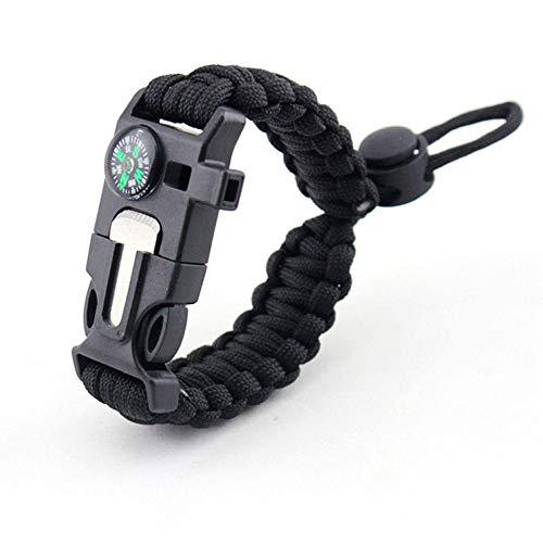 DLSM Outdoor sports bracelet compass flint adjustable bracelet camping survival survival kit-2pcs-black