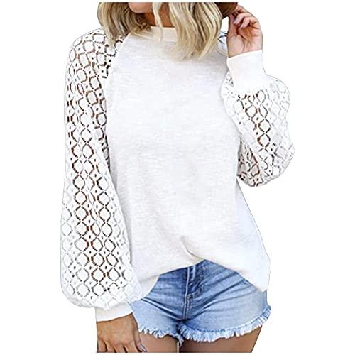 WAo Camisa de color sólido para mujer, blusas de moda, casual, sueltas, de encaje, manga larga, cuello redondo, camisas, blanco, L