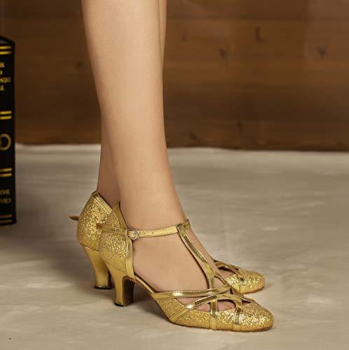 Minitoo qj6133Damen Geschlossen Zehen High Heel PU Leder Glitzer Salsa Tango Ballsaal Latin t-strap Dance Schuhe, Gold Gold-6cm Heel ,42 EU/8 UK - 6
