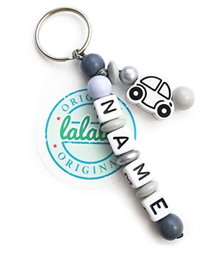 LALALO Auto Schlüsselanhänger mit Namen Gravur - Geschenk Anhänger und Namenskette für Auto, Rucksack, Schulranzen, Schlüsselbund - mit Schlüsselring