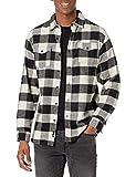 Burnside Men's Yarn-Dyed Long Sleeve Flannel Shirt, Ecru Black, XL