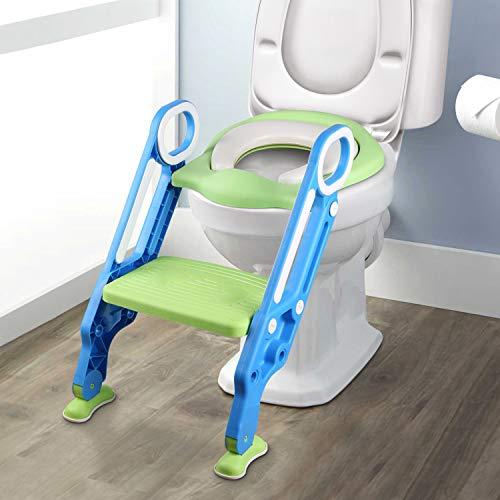 Yissvic Riduttore WC per Bambini con Scaletta Bagno Riduttore WC Pieghevole e Regolabile con Scaletta Morbido per Bambini da 1 a 7 anni