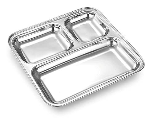 SAMRIDHI Creation - Plato cuadrado de acero inoxidable resistente con 3 secciones divididas para almuerzo, camping, eventos y utensilios de cocina para uso diario (juego de 2)