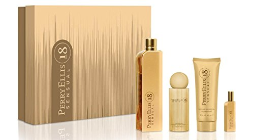 Set Perry Ellis 18 Sensual 4Pzs 100 ml Edp Spray + Shower Gel 90 ml + Body Mist 118 ml Spray + 7.5 ml Edp Spray de Perry Ellis