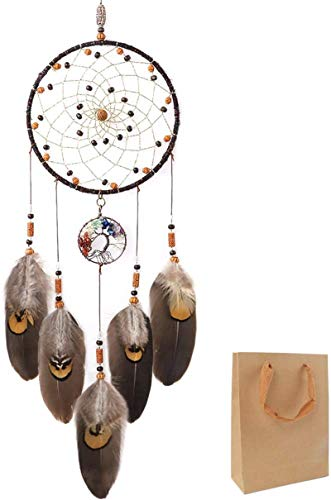 """OUTUXED Dream Catcher Tree of Life Brown Native American Dreamcatcher Handmade Feather for Bedroom Wall Hanging Home Decor Wedding Party Blessing Gift Dia 6"""""""