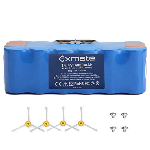 Exmate 4800mAh Extended Life Battery 14.4V Ni-MH Replace 80501 for iRobot Roomba 500 600 700 800 900 Series 500 510 530 535 540 545 550 552 570 580 581 582 595 600 630 650 660 700 760 770 880 980