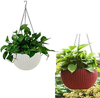 Generic (White and Maroom) 2 pcs Round Plastic Resin Chain Basket Hanging Planter Hanging Flowers and Plants,Growers